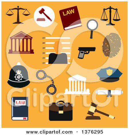 Clipart of Flat Design Law, Justice and Police Flat Icons on Orange - Royalty Free Vector Illustration by Vector Tradition SM