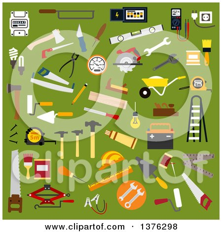 Clipart of Flat Design Builder, Electrician, Mechanic, Painter, Carpenter, Shoemaker and Bricklayer Tools and Equipment on Green - Royalty Free Vector Illustration by Vector Tradition SM