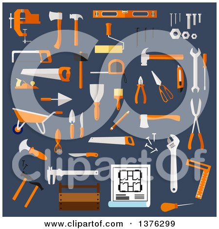 Clipart of a Flat Design Hammer, Axe, Saw, Wrench, Screwdriver, Scissors, Trowel, Spatula, Paintbrush, Roller, Knife, Fastener, Pliers, Toolbox, Blueprint, Wheelbarrow and Ruler on Blue - Royalty Free Vector Illustration by Vector Tradition SM
