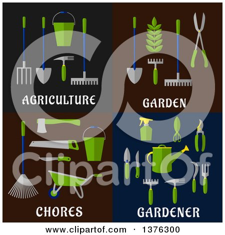 Clipart of Flat Agriculture, Garden, Chorse and Gardener Designs - Royalty Free Vector Illustration by Vector Tradition SM