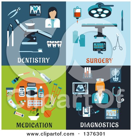 Clipart of Flat Dentistry, Surgery, Medication and Diagnostics Designs - Royalty Free Vector Illustration by Vector Tradition SM