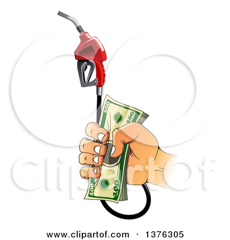 Clipart of a Caucasian Hand Holding Cash Money and a Fuel Nozzle - Royalty Free Vector Illustration by Vector Tradition SM