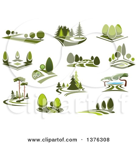 clipart of green park landscapes royalty free vector