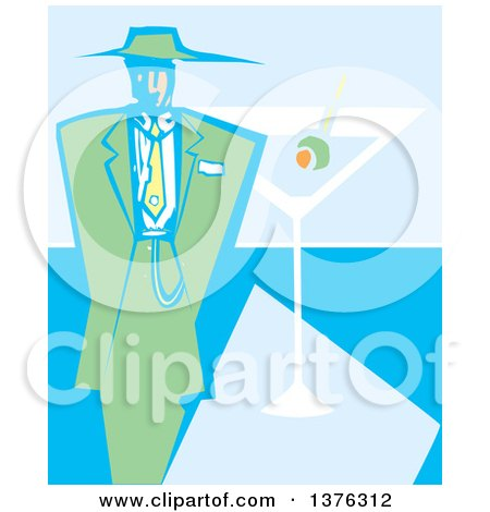 Clipart of a Woodcut Man in a Green Zoot Suit over a Martini Cocktail - Royalty Free Vector Illustration by xunantunich
