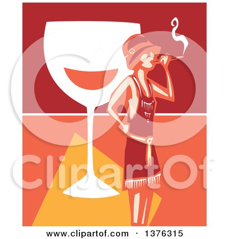 Clipart of a Woodcut Flapper Girl Smoking a Cigarette over a Giant Glass of Wine - Royalty Free Vector Illustration by xunantunich