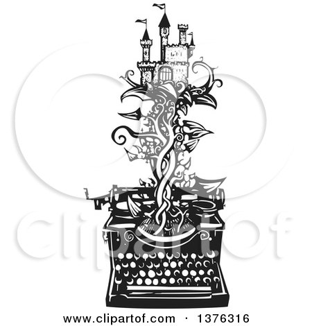Clipart of a Black and White Woodcut Fairy Tale Castle on a Vine Emerging from a Typewriter - Royalty Free Vector Illustration by xunantunich