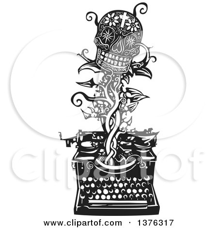 Clipart of a Black and White Woodcut Death Skull with Flowers and a Cross on a Vine Emerging from a Typewriter - Royalty Free Vector Illustration by xunantunich