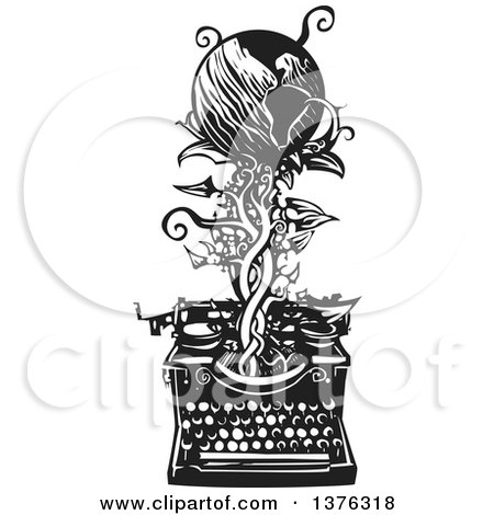 Black and White Woodcut Typewriter with a Vine and Earth Emerging from It Posters, Art Prints