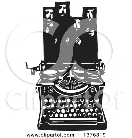 Black and White Woodcut Typewriter with Muslims in Hijab Above Posters, Art Prints