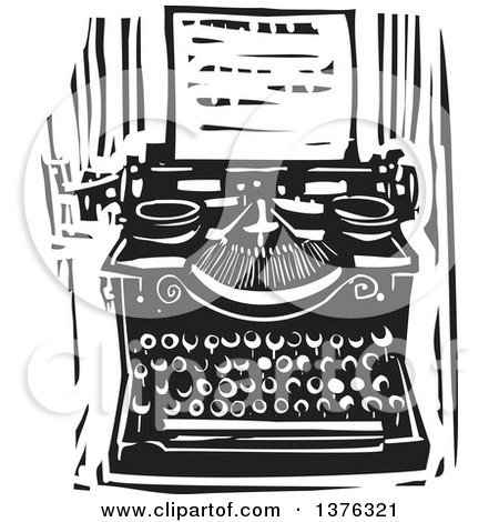 Clipart of a Black and White Woodcut Typewriter and Letter - Royalty Free Vector Illustration by xunantunich