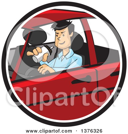 Clipart of a Distracted Man Drinking a Beverage and Driving - Royalty Free Vector Illustration by David Rey