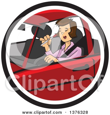 Clipart of a Caucasian Man Driving a Lady in a Car - Royalty Free ...
