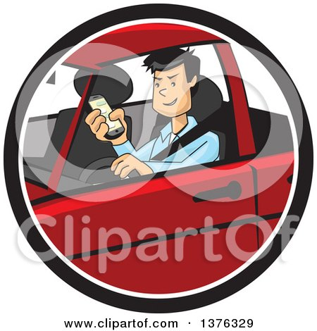 Clipart of a Distracted Man Driving and Texting on His Cell Phone - Royalty Free Vector Illustration by David Rey