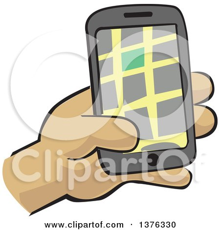 Clipart of a Hand Holding a Gps Device - Royalty Free Vector Illustration by David Rey
