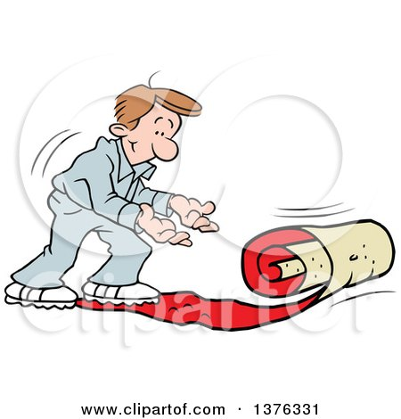 Clipart of a Caucasian Man Rolling out the VIP Red Carpet - Royalty Free Vector Illustration by Johnny Sajem