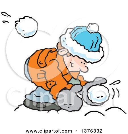 Clipart of a Happy Caucasian Boy Bending over to Make a Snowball As One Flies at Him from Behind - Royalty Free Vector Illustration by Johnny Sajem