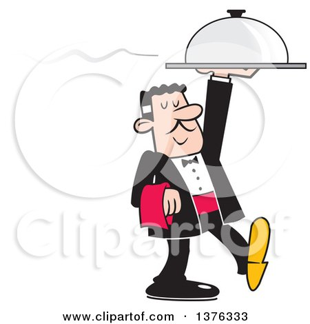 Clipart of a Formal Male Waiter Serving a Steaming Dinner Cloche Platter - Royalty Free Vector Illustration by Johnny Sajem