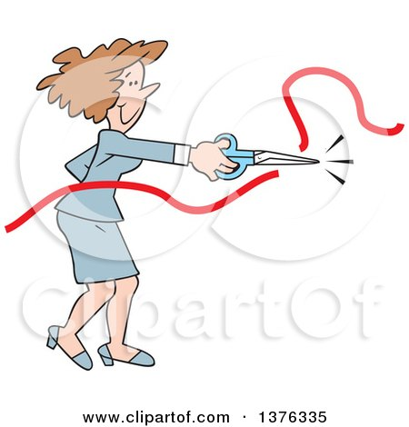 Cartoon Clipart of a Brunette Caucasian Business Woman Doing the Honors of Cutting the Ribbon at a New Business Opening Ceremony - Royalty Free Vector Illustration by Johnny Sajem