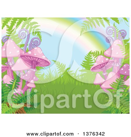 Clipart of a Nature Background of Ferns, Mushrooms and a Rainbow - Royalty Free Vector Illustration by Pushkin