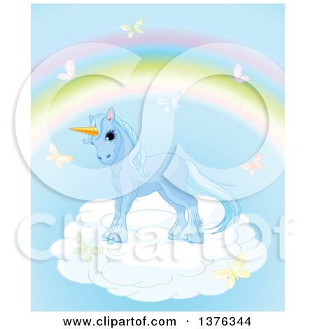Clipart of a Cute Blue Unicorn Horse on a Cloud, Surrounded by Butterflies Under a Rainbow - Royalty Free Vector Illustration by Pushkin