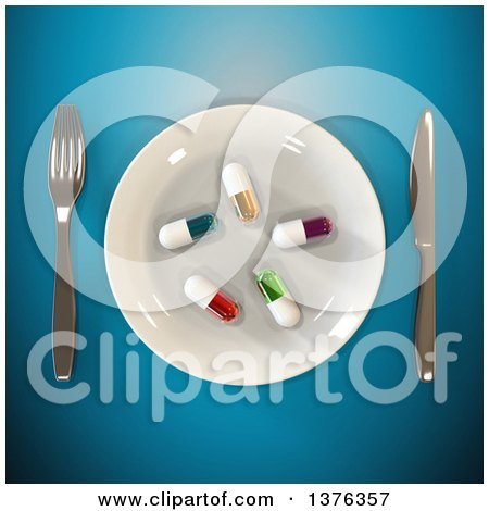 Clipart of a 3d Plate with Diet Pills and Silverware on a Blue Background - Royalty Free Illustration by Julos