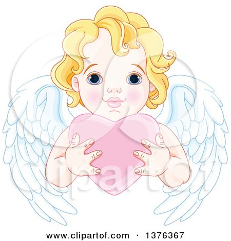 Clipart Of A Cute Blond Haired Blue Eyed Caucasian Valentines Day Cupid With Wings Holding A Heart Royalty Free Vector Illustration
