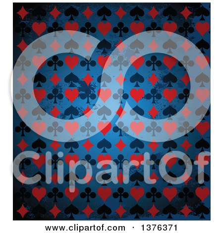 Clipart of a Distressed Background of Black and Red Playing Card Suit Icons over Blue - Royalty Free Vector Illustration by Pushkin
