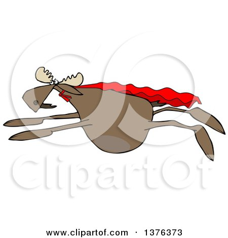 Clipart of a Cartoon Super Hero Moose Flying with a Cape - Royalty Free Vector Illustration by djart
