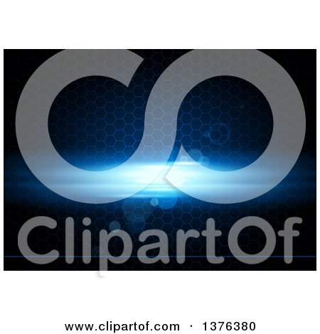 Clipart of a Background of a Blue Light, a Line and Flares over Honeycombs on Black - Royalty Free Vector Illustration by dero