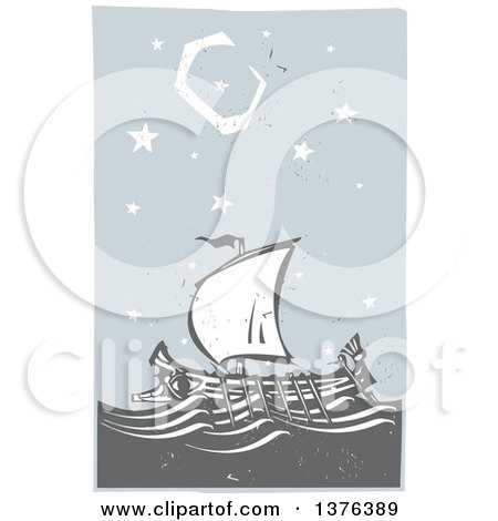 Clipart of a Woodcut Ancient Greek Galley Ship at Night - Royalty Free Vector Illustration by xunantunich