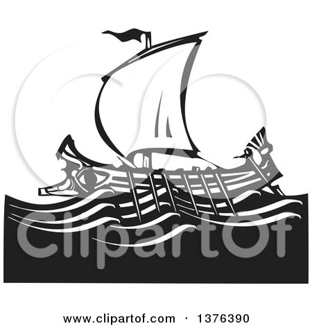Clipart of a Black and White Woodcut Ancient Greek Galley Ship - Royalty Free Vector Illustration by xunantunich