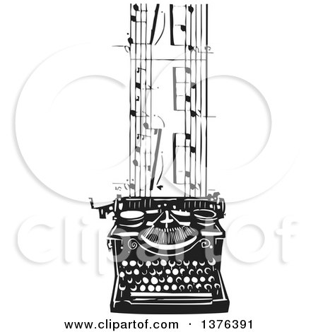 Black and White Woodcut Typewriter and Sheet Music Posters, Art Prints