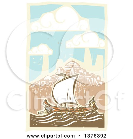Clipart of a Woodcut Ancient Greek Galley Ship and a Coastal Village - Royalty Free Vector Illustration by xunantunich