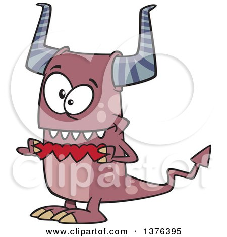 Clipart of a Cartoon Valentine Monster Holding a String of Red Paper Hearts - Royalty Free Vector Illustration by toonaday