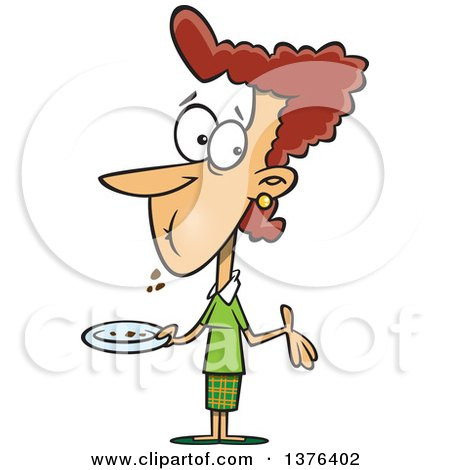 Clipart of a Cartoon Brunette White Woman with a Full Mouth, Shrugging and Holding a Plate After Eating Cake - Royalty Free Vector Illustration by toonaday