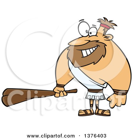 Clipart of a Cartoon Hercules Holding a Club - Royalty Free Vector Illustration by toonaday