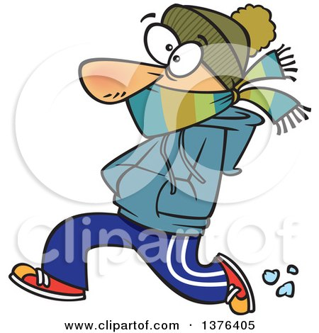 Clipart of a Cartoon Caucasian Man Bundled up and Running in the Cold - Royalty Free Vector Illustration by toonaday