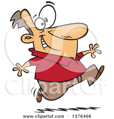 Clipart of a Cartoon Eager White Man Running - Royalty Free Vector Illustration by toonaday