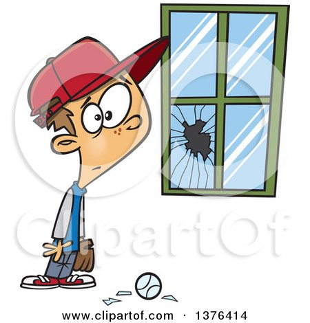 Clipart Of A Cartoon Worried White Boy Standing Next To A Window Broken By A Baseball Royalty Free Vector Illustration