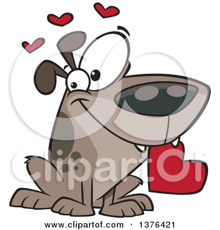 Clipart Of A Cartoon Sweet Loving Dog Holding A Red Valentine Heart In His Mouth Royalty Free Vector Illustration