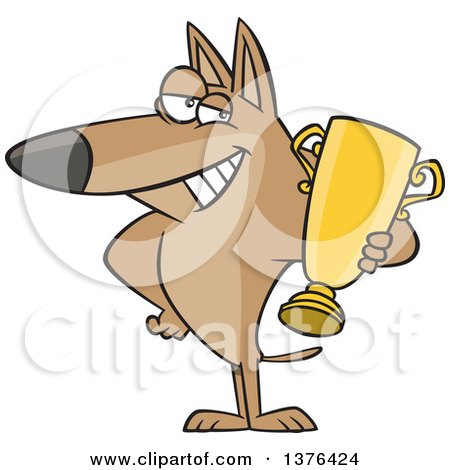 Clipart of a Cartoon Proud Dog Champion Holding a Gold Trophy - Royalty Free Vector Illustration by toonaday