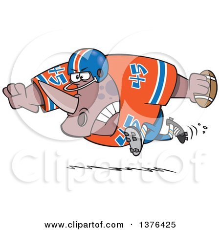 Clipart of a Cartoon Tough Rhino Fooball Player Running - Royalty Free Vector Illustration by toonaday