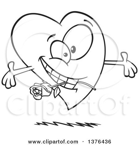 Clipart of a Cartoon Black and White  Romantic Love Heart Character with Open Arms and a Rose in His Mouth - Royalty Free Vector Illustration by toonaday