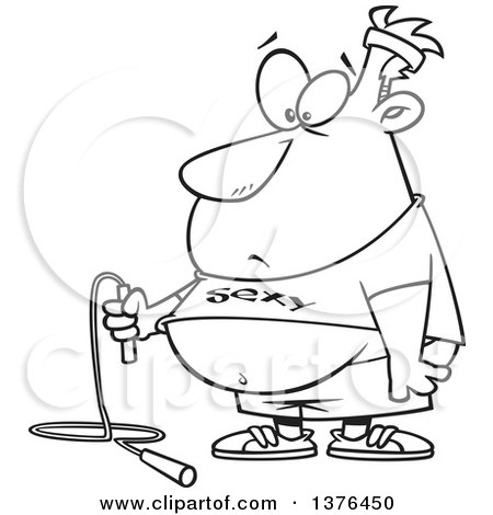 Clipart of a Cartoon Black and White  Fat Man Holding a Jumprope and Wearing a Sexy Shirt, Ready to Work out - Royalty Free Vector Illustration by toonaday