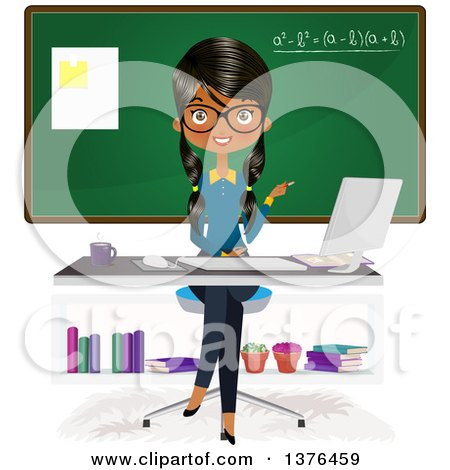 Clipart of a Female Indian Teacher Sitting at a Desk in Front of a Class Room - Royalty Free Vector Illustration by Melisende Vector