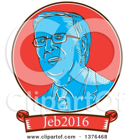 Clipart of a Retro Sketched Portrait of Jeb Bush with Text - Royalty Free Vector Illustration by patrimonio