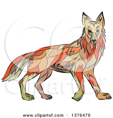 Clipart of a Colorful Sketched Mosaic Alert Coyote - Royalty Free Vector Illustration by patrimonio