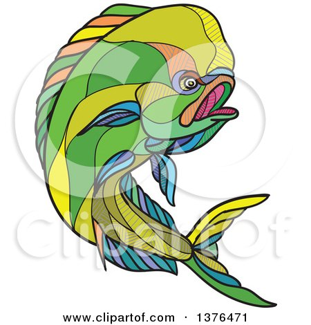 Clipart of a Colorful Sketched Mosaic Jumping Dolphin Fish - Royalty Free Vector Illustration by patrimonio