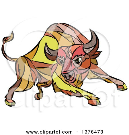 Clipart of a Colorful Sketched Mosaic Angry Charging Bull - Royalty Free Vector Illustration by patrimonio