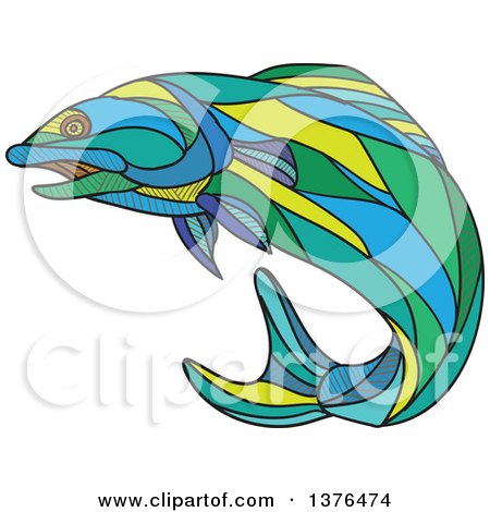 Clipart of a Colorful Sketched Mosaic Jumping Atlantic Salmon Fish - Royalty Free Vector Illustration by patrimonio